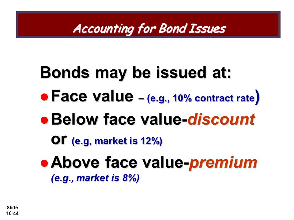 Slide 10-44 Accounting for Bond Issues Bonds may be issued at: Face value – (e.g., 10% contract rate ) Face value – (e.g., 10% contract rate ) Below face value-discount or (e.g, market is 12%) Below face value-discount or (e.g, market is 12%) Above face value-premium (e.g., market is 8%) Above face value-premium (e.g., market is 8%)