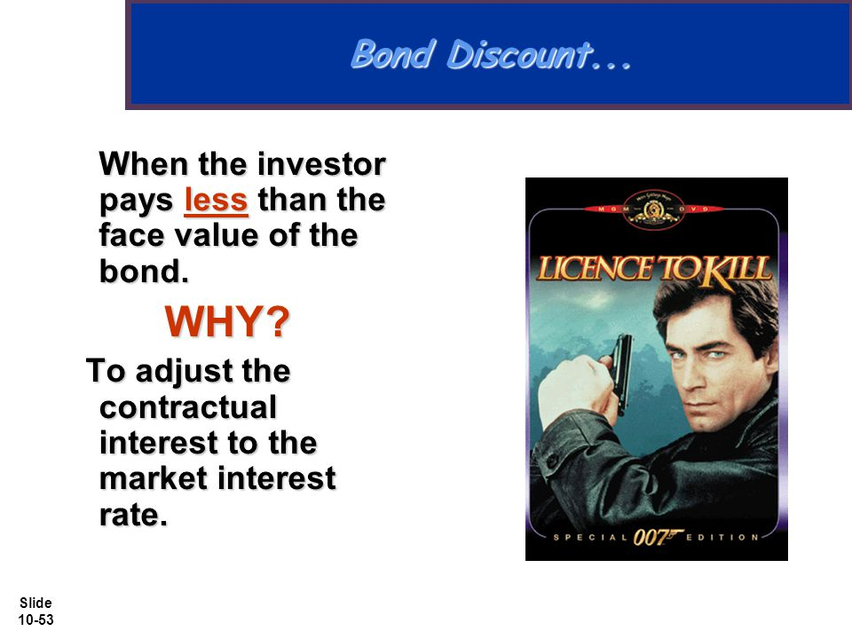 Slide 10-53 Bond Discount... When the investor pays less than the face value of the bond.