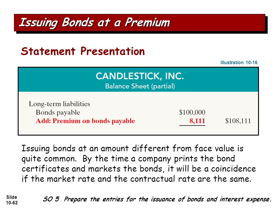 Slide 10-62 Statement Presentation SO 5 Prepare the entries for the issuance of bonds and interest expense.