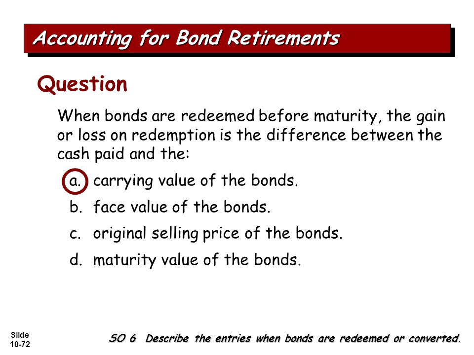 Slide 10-72 SO 6 Describe the entries when bonds are redeemed or converted.