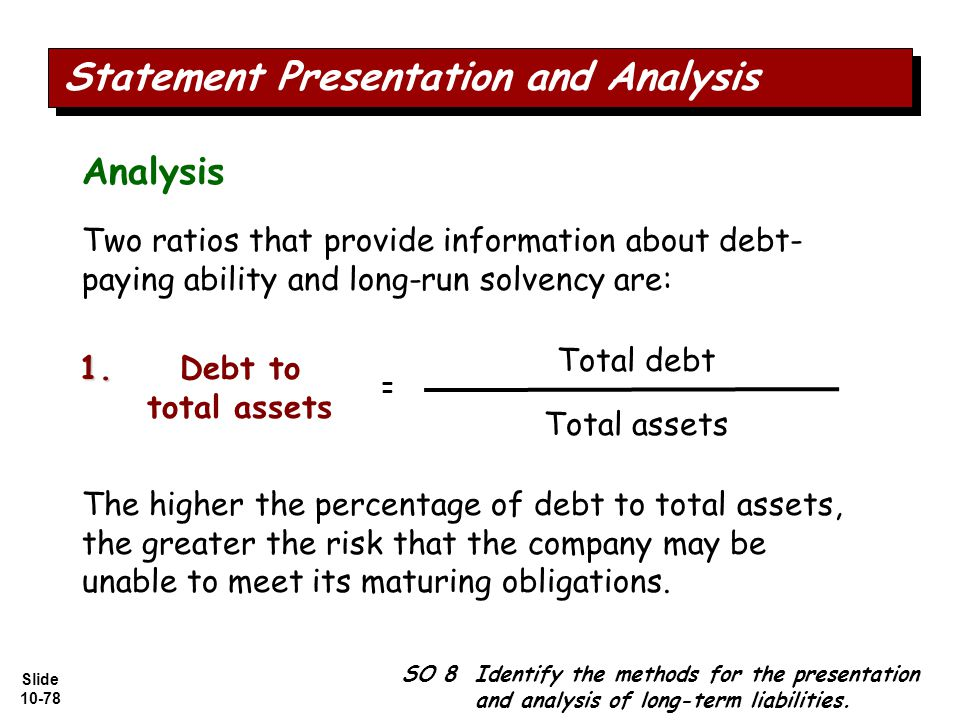 Slide 10-78 Analysis Two ratios that provide information about debt- paying ability and long-run solvency are: Total debt Total assets Debt to total assets = The higher the percentage of debt to total assets, the greater the risk that the company may be unable to meet its maturing obligations.