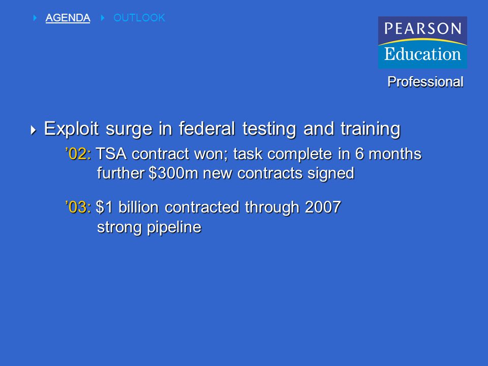  Exploit surge in federal testing and training '02: TSA contract won; task complete in 6 months further $300m new contracts signed '03: $1 billion contracted through 2007 strong pipeline Professional  AGENDA  OUTLOOK