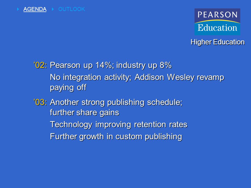 '02:Pearson up 14%; industry up 8% No integration activity; Addison Wesley revamp paying off '03:Another strong publishing schedule; further share gains Technology improving retention rates Further growth in custom publishing Higher Education  AGENDA  OUTLOOK