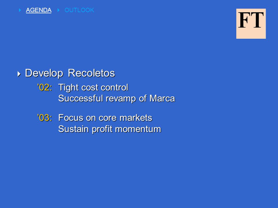  Develop Recoletos '02:Tight cost control Successful revamp of Marca '03:Focus on core markets Sustain profit momentum  AGENDA  OUTLOOK