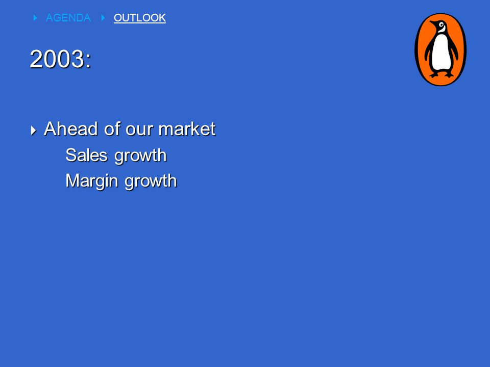  Ahead of our market Sales growth Margin growth  AGENDA  OUTLOOK 2003: