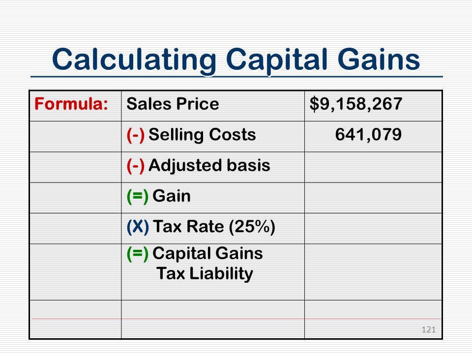 121 Calculating Capital Gains Formula:Sales Price$9,158,267 (-) Selling Costs 641,079 (-) Adjusted basis (=) Gain (X) Tax Rate (25%) (=) Capital Gains Tax Liability