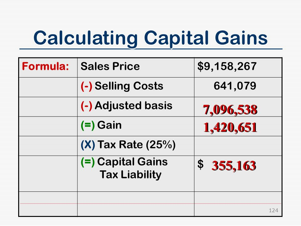 124 Calculating Capital Gains Formula:Sales Price$9,158,267 (-) Selling Costs 641,079 (-) Adjusted basis (=) Gain (X) Tax Rate (25%) (=) Capital Gains