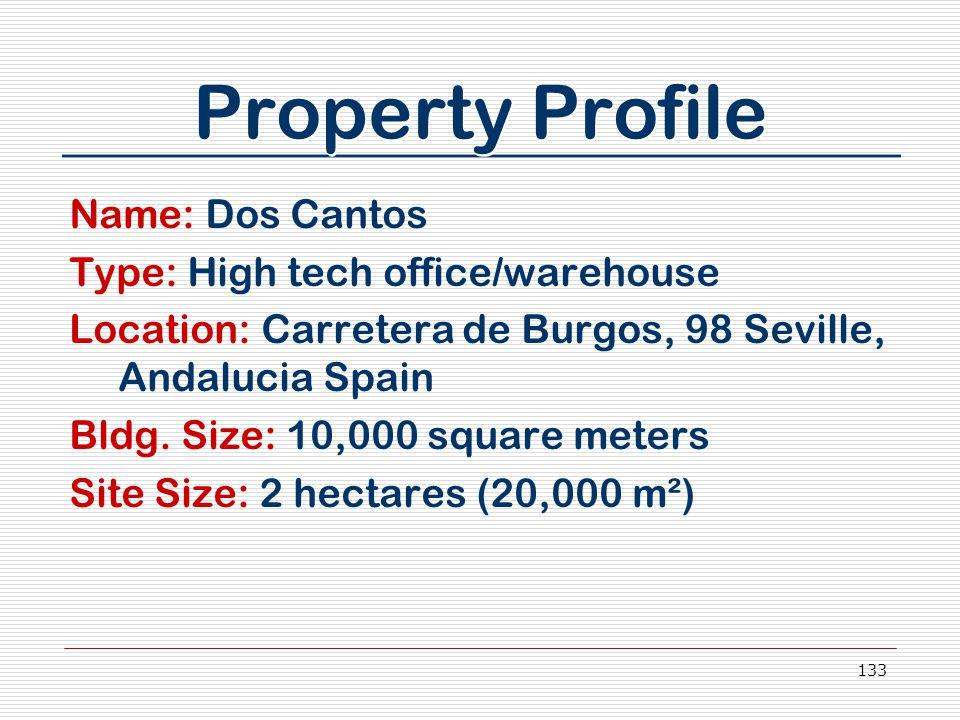 133 Property Profile Name: Dos Cantos Type: High tech office/warehouse Location: Carretera de Burgos, 98 Seville, Andalucia Spain Bldg.