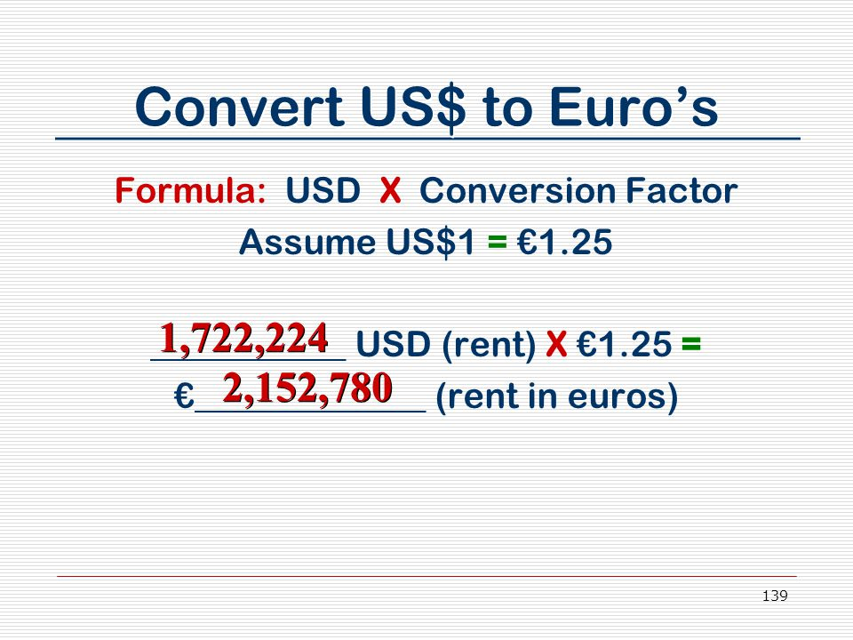 139 Convert US$ to Euro's Formula: USD X Conversion Factor Assume US$1 = €1.25 ___________ USD (rent) X €1.25 = €_____________ (rent in euros) 1,722,2