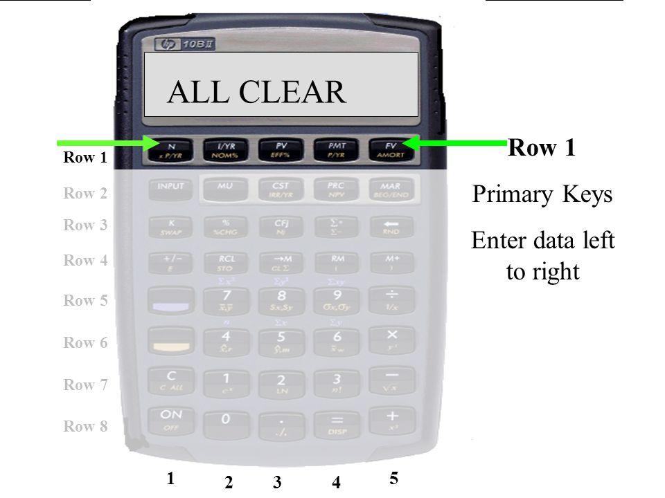 23 Row 1 Row 5 Row 6 Row 7 Row 8 Row 2 Row 3 Row 4 1 234 5 ALL CLEAR Row 1 Primary Keys Enter data left to right