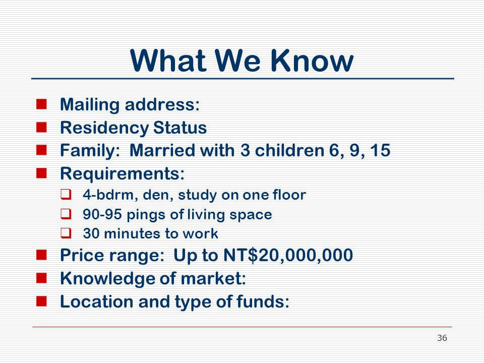 36 What We Know Mailing address: Residency Status Family: Married with 3 children 6, 9, 15 Requirements:  4-bdrm, den, study on one floor  90-95 pin