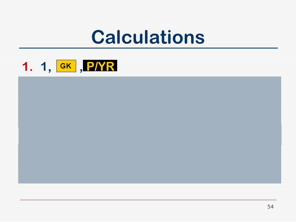 54 Calculations 1.1,, P/YR 2.Press 3, N 3.Enter 634,300, Press +/-, Press PV 4.Enter 750,000 5.Press FV 6.Press I/YR key 7.Annual appreciation rate is _________ 5.74% GK