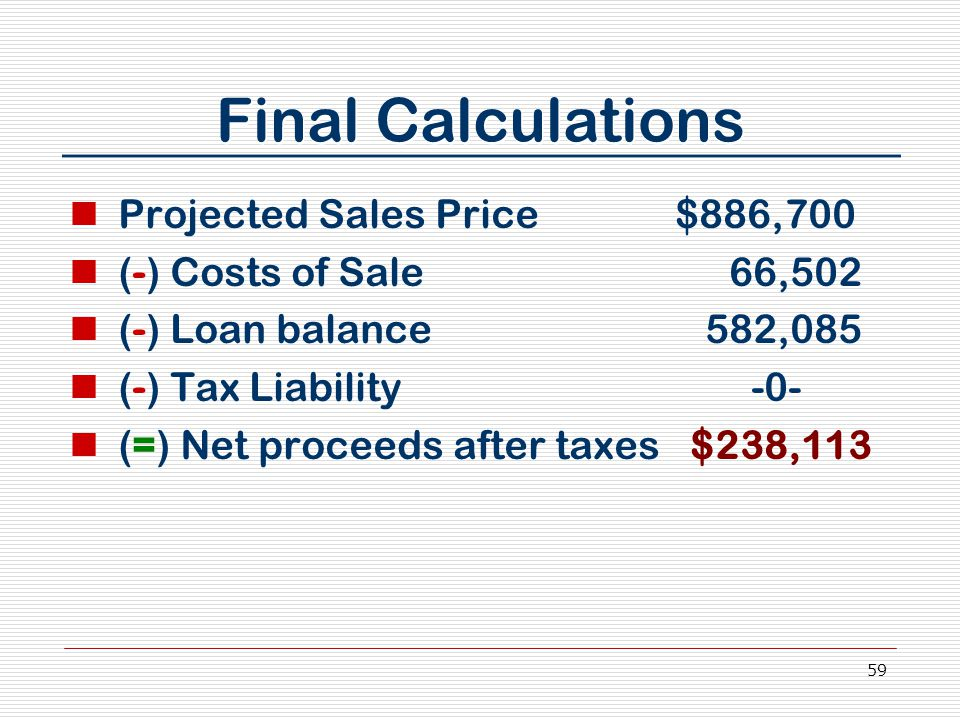 59 Final Calculations Projected Sales Price $886,700 (-) Costs of Sale 66,502 (-) Loan balance 582,085 (-) Tax Liability -0- (=) Net proceeds after taxes $238,113