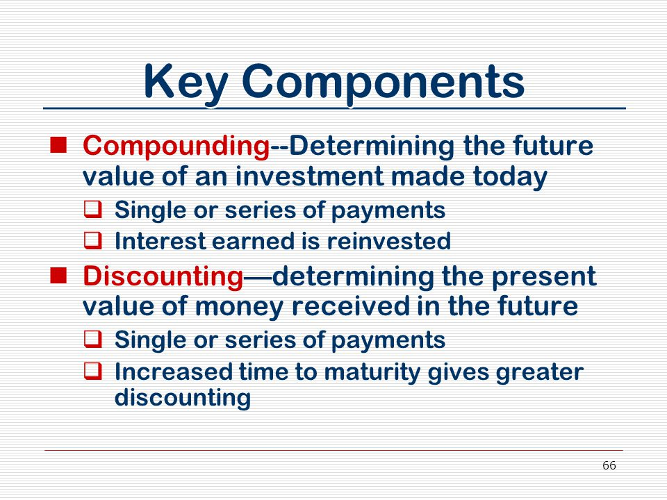 66 Key Components Compounding--Determining the future value of an investment made today  Single or series of payments  Interest earned is reinvested