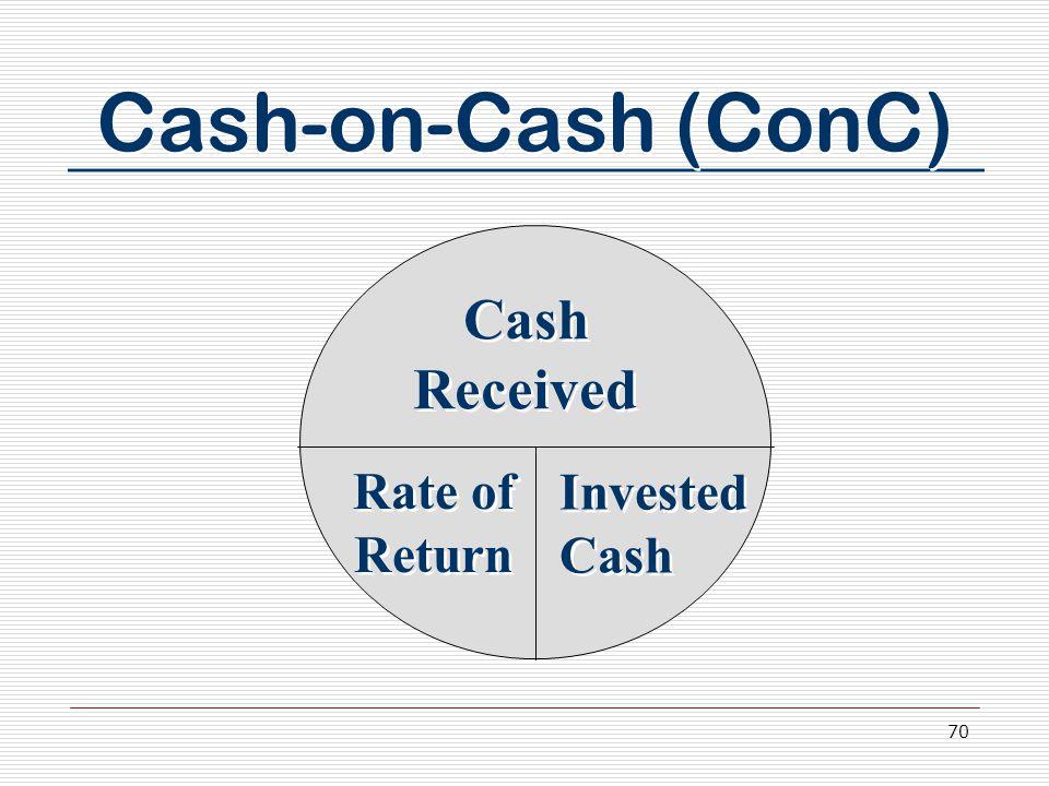 70 Cash-on-Cash (ConC) Cash Received Rate of Return Invested Cash
