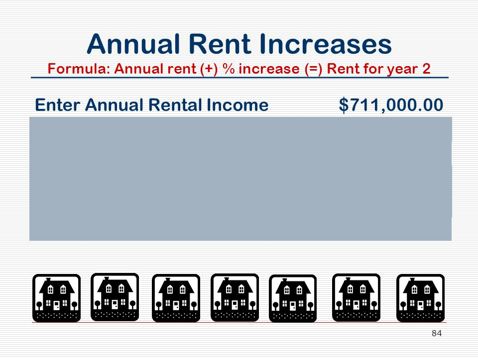 84 Annual Rent Increases Formula: Annual rent (+) % increase (=) Rent for year 2 Enter Annual Rental Income $711,000.00 Press +, 3, %, K, = (Yr.