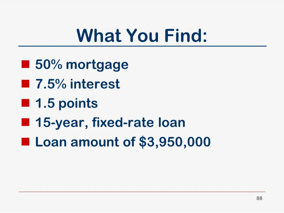 88 What You Find: 50% mortgage 7.5% interest 1.5 points 15-year, fixed-rate loan Loan amount of $3,950,000