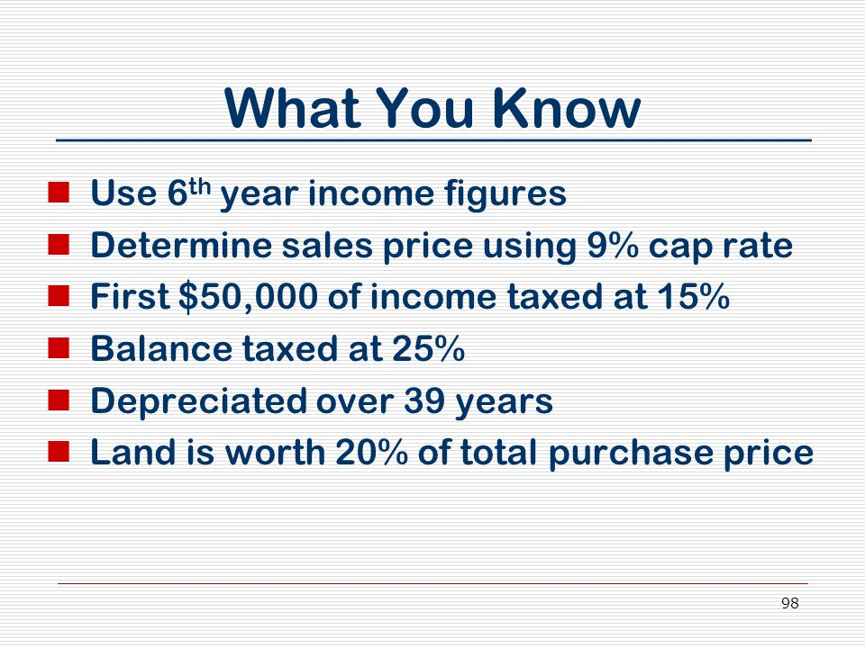98 What You Know Use 6 th year income figures Determine sales price using 9% cap rate First $50,000 of income taxed at 15% Balance taxed at 25% Depreciated over 39 years Land is worth 20% of total purchase price