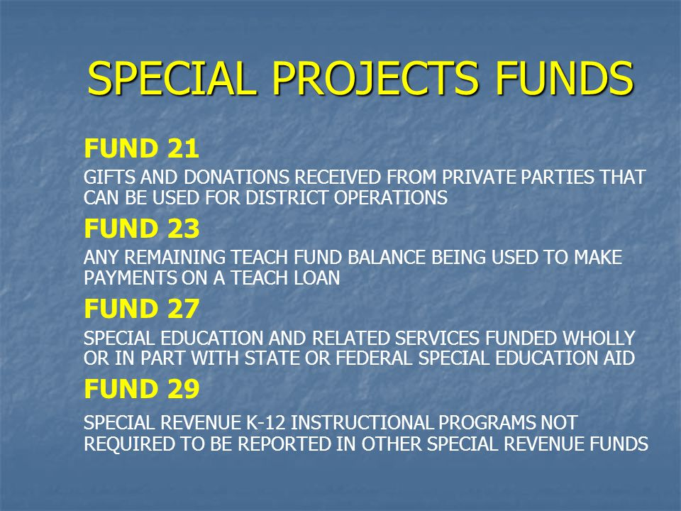 SPECIAL PROJECTS FUNDS FUND 21 GIFTS AND DONATIONS RECEIVED FROM PRIVATE PARTIES THAT CAN BE USED FOR DISTRICT OPERATIONS FUND 23 ANY REMAINING TEACH