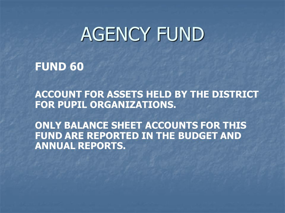 AGENCY FUND FUND 60 ACCOUNT FOR ASSETS HELD BY THE DISTRICT FOR PUPIL ORGANIZATIONS. ONLY BALANCE SHEET ACCOUNTS FOR THIS FUND ARE REPORTED IN THE BUD