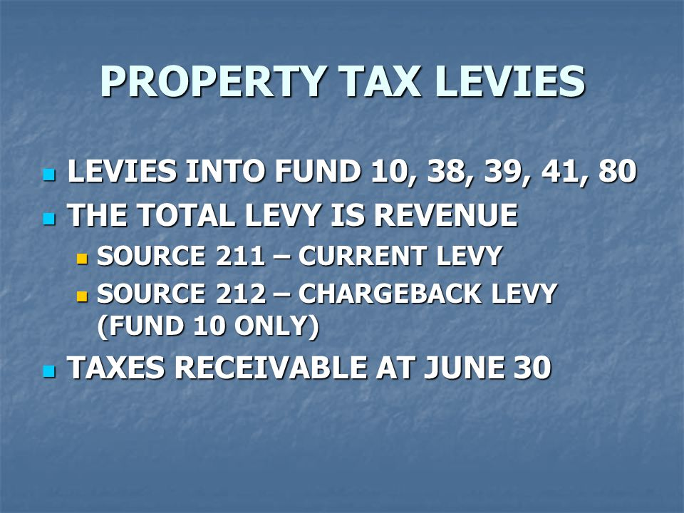 LEVIES INTO FUND 10, 38, 39, 41, 80 LEVIES INTO FUND 10, 38, 39, 41, 80 THE TOTAL LEVY IS REVENUE THE TOTAL LEVY IS REVENUE SOURCE 211 – CURRENT LEVY