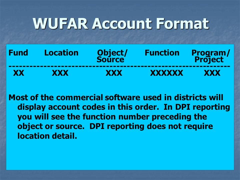 WUFAR Account Format Fund Location Object/ Function Program/ Source Project ---------------------------------------------------------------- XX XXX XX