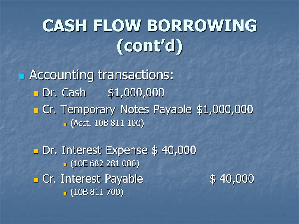 CASH FLOW BORROWING (cont'd) Accounting transactions: Accounting transactions: Dr.