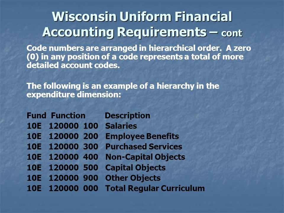 Wisconsin Uniform Financial Accounting Requirements – cont Code numbers are arranged in hierarchical order.