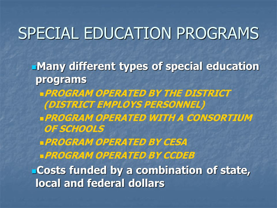 SPECIAL EDUCATION PROGRAMS Many different types of special education programs Many different types of special education programs PROGRAM OPERATED BY THE DISTRICT (DISTRICT EMPLOYS PERSONNEL) PROGRAM OPERATED WITH A CONSORTIUM OF SCHOOLS PROGRAM OPERATED BY CESA PROGRAM OPERATED BY CCDEB Costs funded by a combination of state, local and federal dollars Costs funded by a combination of state, local and federal dollars