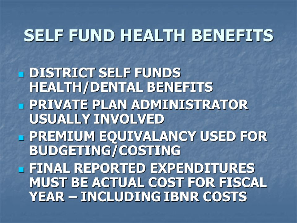 SELF FUND HEALTH BENEFITS DISTRICT SELF FUNDS HEALTH/DENTAL BENEFITS DISTRICT SELF FUNDS HEALTH/DENTAL BENEFITS PRIVATE PLAN ADMINISTRATOR USUALLY INVOLVED PRIVATE PLAN ADMINISTRATOR USUALLY INVOLVED PREMIUM EQUIVALANCY USED FOR BUDGETING/COSTING PREMIUM EQUIVALANCY USED FOR BUDGETING/COSTING FINAL REPORTED EXPENDITURES MUST BE ACTUAL COST FOR FISCAL YEAR – INCLUDING IBNR COSTS FINAL REPORTED EXPENDITURES MUST BE ACTUAL COST FOR FISCAL YEAR – INCLUDING IBNR COSTS