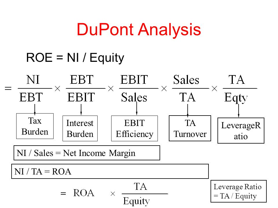 DuPont Analysis ROE = NI / Equity Tax Burden Interest Burden EBIT Efficiency TA Turnover NI / Sales = Net Income Margin NI / TA = ROA Leverage Ratio = TA / Equity LeverageR atio