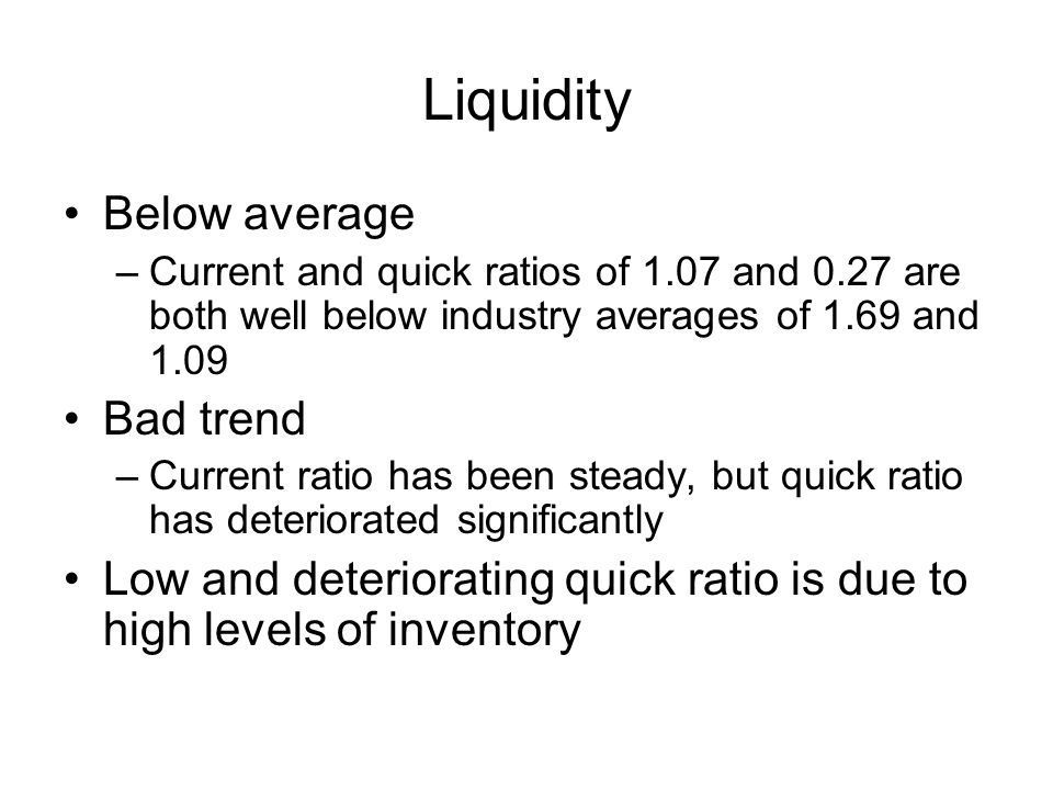 Liquidity Below average –Current and quick ratios of 1.07 and 0.27 are both well below industry averages of 1.69 and 1.09 Bad trend –Current ratio has been steady, but quick ratio has deteriorated significantly Low and deteriorating quick ratio is due to high levels of inventory