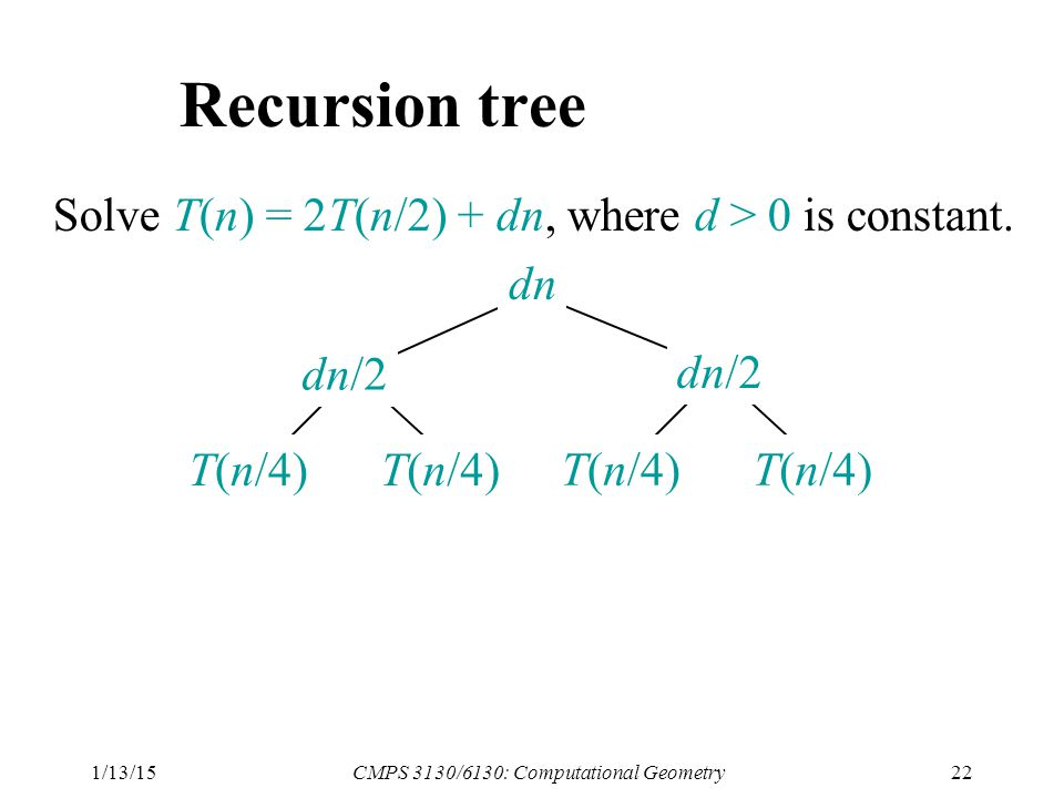 1/13/15CMPS 3130/6130: Computational Geometry22 Recursion tree Solve T(n) = 2T(n/2) + dn, where d > 0 is constant.