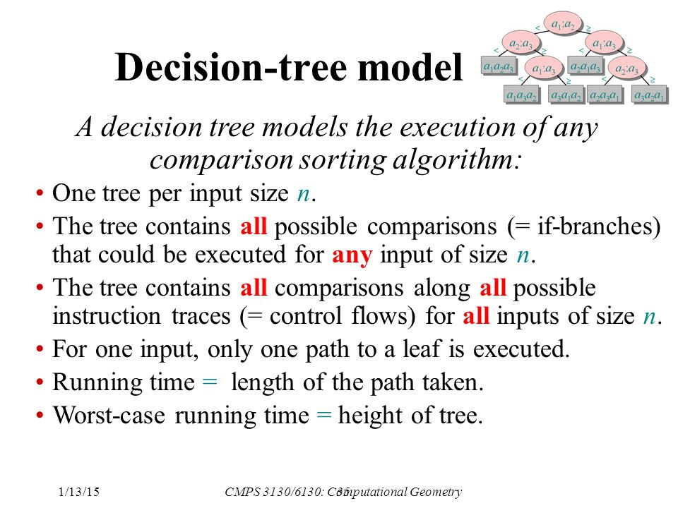 35 Decision-tree model A decision tree models the execution of any comparison sorting algorithm: One tree per input size n.