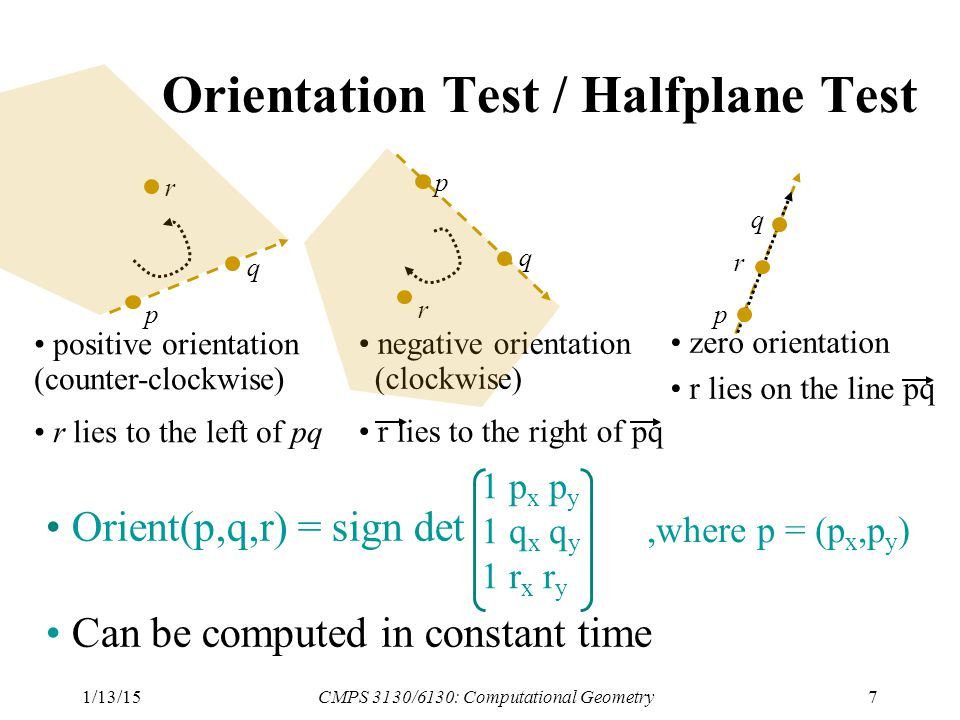 1/13/15CMPS 3130/6130: Computational Geometry7 Orientation Test / Halfplane Test p q r r q p positive orientation (counter-clockwise) r lies to the left of pq negative orientation (clockwise) r lies to the right of pq r q p zero orientation r lies on the line pq Orient(p,q,r) = sign det Can be computed in constant time 1 p x p y 1 q x q y 1 r x r y,where p = (p x,p y )