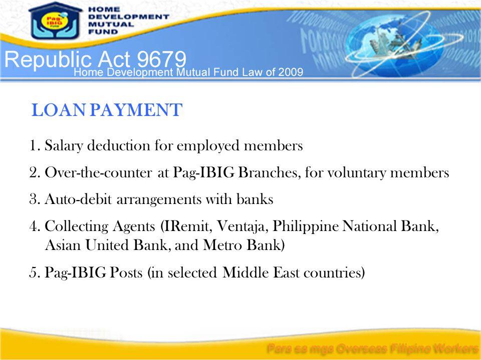 3. Auto-debit arrangements with banks 4.