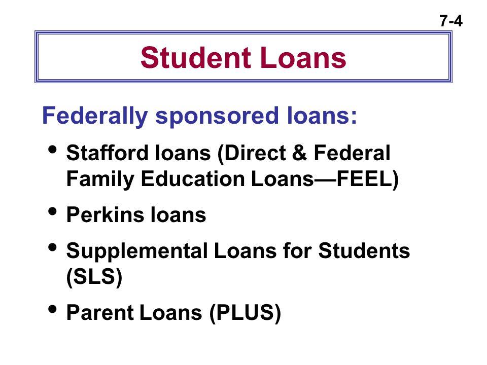 7-4 Student Loans Federally sponsored loans:  Stafford loans (Direct & Federal Family Education Loans—FEEL)  Perkins loans  Supplemental Loans for
