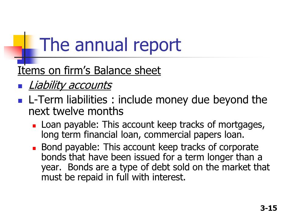 3-15 The annual report Items on firm's Balance sheet Liability accounts L-Term liabilities : include money due beyond the next twelve months Loan payable: This account keep tracks of mortgages, long term financial loan, commercial papers loan.