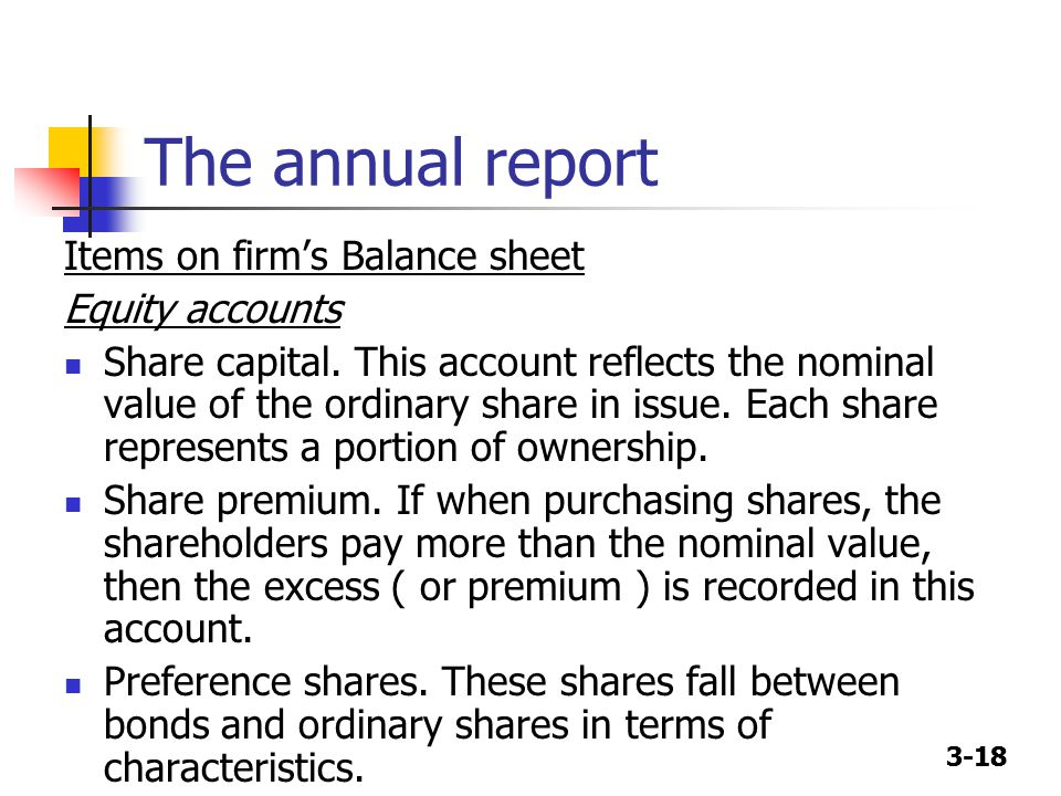3-18 The annual report Items on firm's Balance sheet Equity accounts Share capital.
