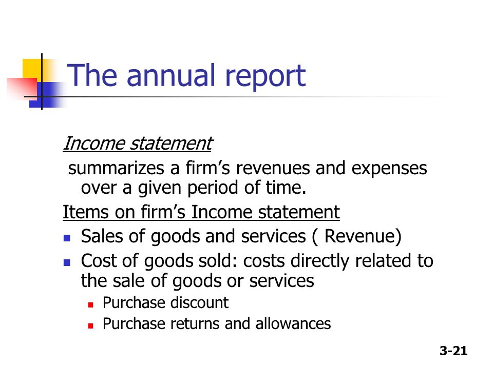 3-21 The annual report Income statement summarizes a firm's revenues and expenses over a given period of time.