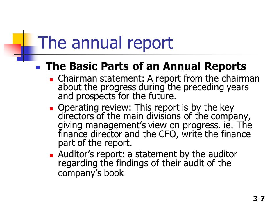 3-7 The annual report The Basic Parts of an Annual Reports Chairman statement: A report from the chairman about the progress during the preceding years and prospects for the future.
