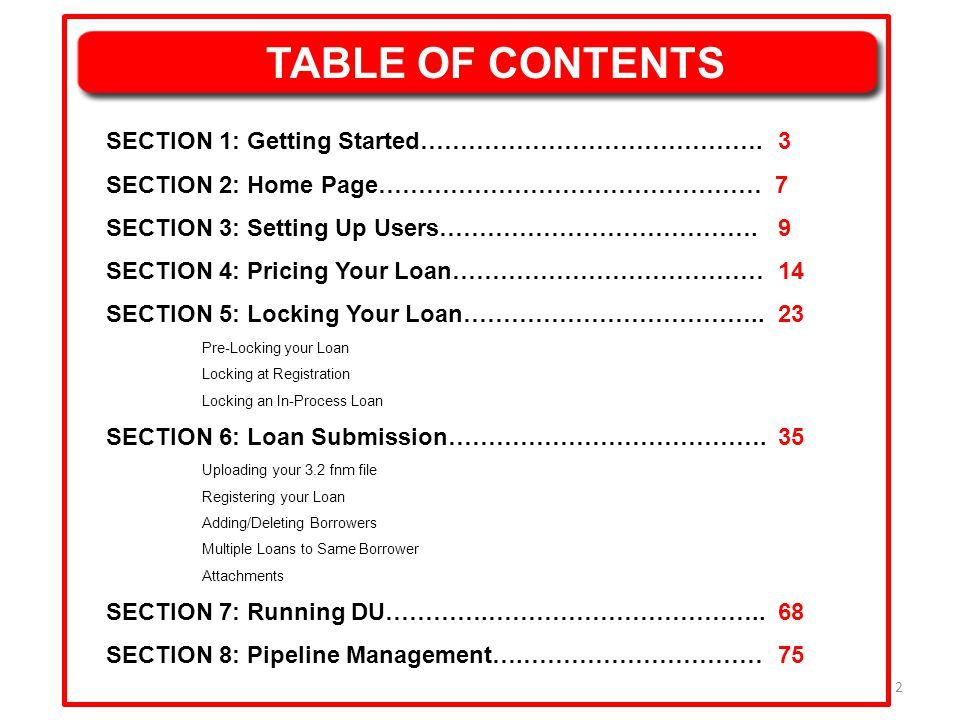 13 SECTION 4: PRICING YOUR LOAN