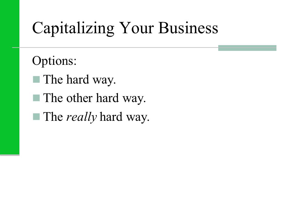 Capitalizing Your Business Options: The hard way. The other hard way. The really hard way.