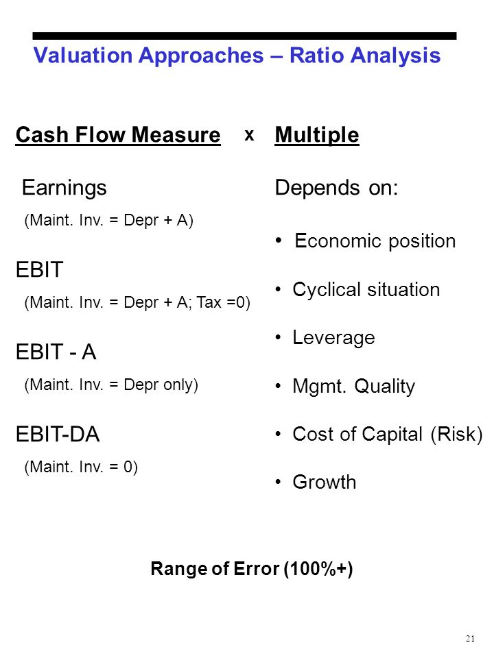 21 Valuation Approaches – Ratio Analysis Cash Flow Measure Earnings (Maint. Inv. = Depr + A) EBIT (Maint. Inv. = Depr + A; Tax =0) EBIT - A (Maint. In