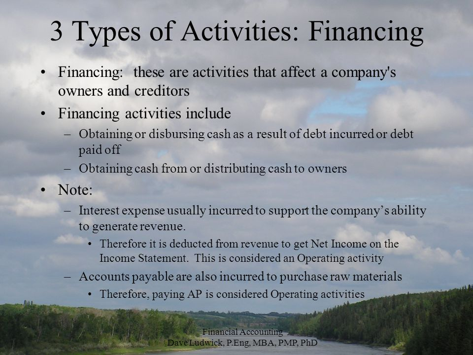 3 Types of Activities: Financing Financing: these are activities that affect a company s owners and creditors Financing activities include –Obtaining or disbursing cash as a result of debt incurred or debt paid off –Obtaining cash from or distributing cash to owners Note: –Interest expense usually incurred to support the company's ability to generate revenue.