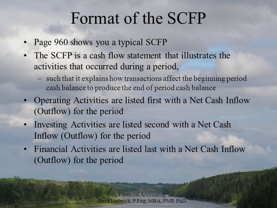 Format of the SCFP Page 960 shows you a typical SCFP The SCFP is a cash flow statement that illustrates the activities that occurred during a period, –such that it explains how transactions affect the beginning period cash balance to produce the end of period cash balance Operating Activities are listed first with a Net Cash Inflow (Outflow) for the period Investing Activities are listed second with a Net Cash Inflow (Outflow) for the period Financial Activities are listed last with a Net Cash Inflow (Outflow) for the period Financial Accounting Dave Ludwick, P.Eng, MBA, PMP, PhD