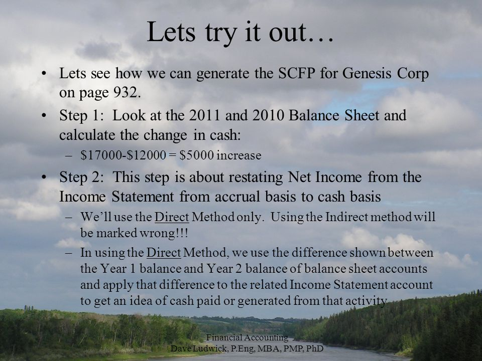 Lets try it out… Lets see how we can generate the SCFP for Genesis Corp on page 932.