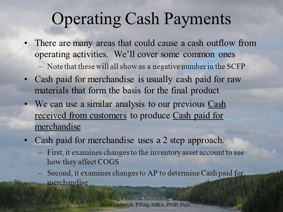 Operating Cash Payments There are many areas that could cause a cash outflow from operating activities.
