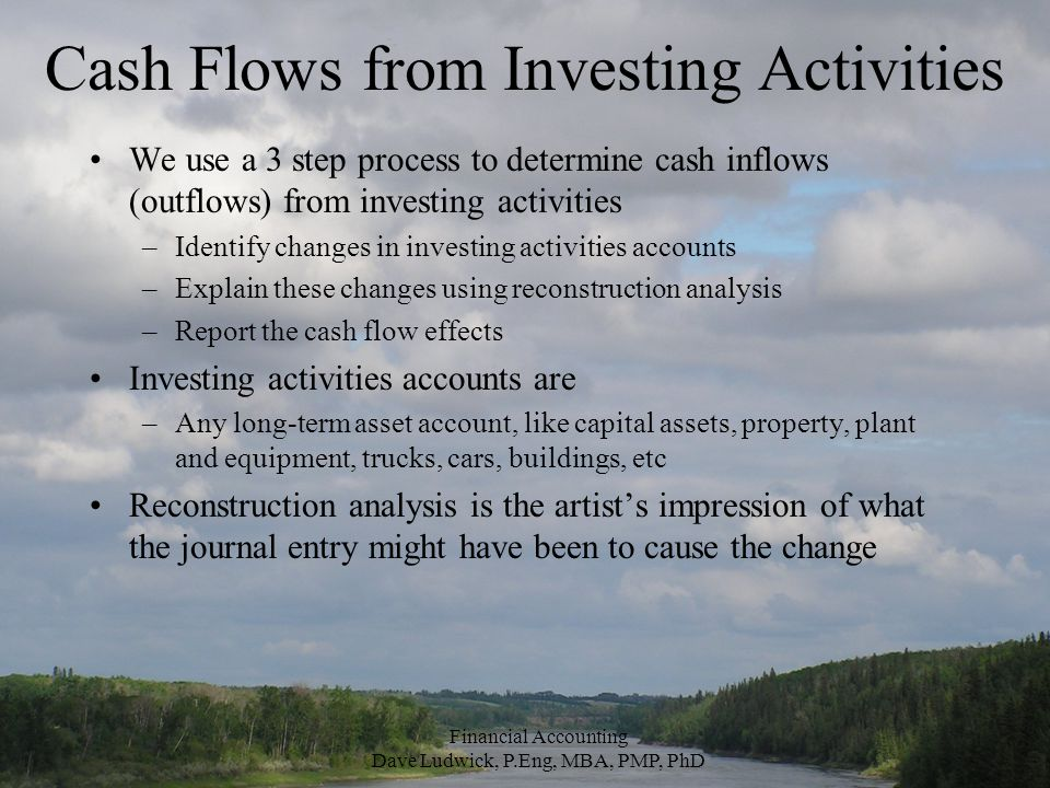 Cash Flows from Investing Activities We use a 3 step process to determine cash inflows (outflows) from investing activities –Identify changes in investing activities accounts –Explain these changes using reconstruction analysis –Report the cash flow effects Investing activities accounts are –Any long-term asset account, like capital assets, property, plant and equipment, trucks, cars, buildings, etc Reconstruction analysis is the artist's impression of what the journal entry might have been to cause the change Financial Accounting Dave Ludwick, P.Eng, MBA, PMP, PhD