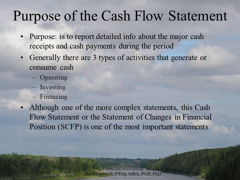 Purpose of the Cash Flow Statement Purpose: is to report detailed info about the major cash receipts and cash payments during the period Generally there are 3 types of activities that generate or consume cash –Operating –Investing –Financing Although one of the more complex statements, this Cash Flow Statement or the Statement of Changes in Financial Position (SCFP) is one of the most important statements Financial Accounting Dave Ludwick, P.Eng, MBA, PMP, PhD